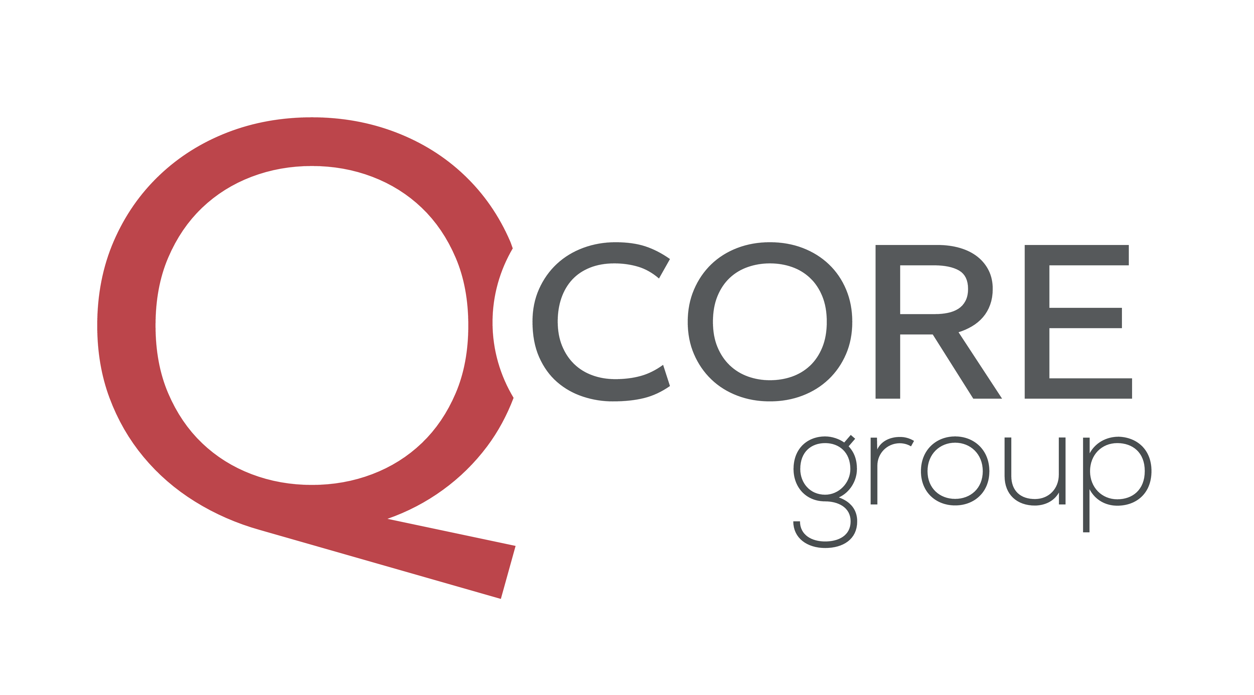 Qcore Red and gray logo